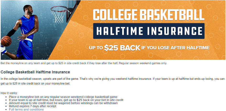 FanDuel College Basketball Halftime Insurance Promo